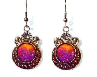 Purple and orange flat cabochons earrings