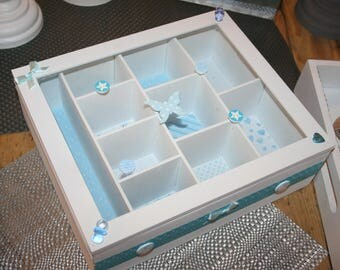 baby blue and white baptism memories gift box