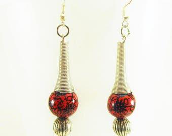 Earrings red, black, silver, Bohemian style