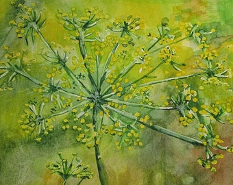 Watercolor, dandelions, colors: yellow and green for coasters, painting, painting