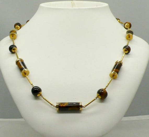 Vintage 14kt Yellow Gold  with Tiger's Eye Bead Necklace 24""