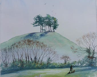 """Original watercolour """"Colmer's Hill from the Chideock side   'morning serenity' """" Dorset art countryside nature sacred hilltop"""