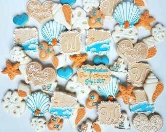 Beach Wedding Theme Cookies