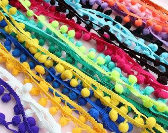 Pom Pom Trim Trimming Sewing Craft Per Metre 10mm Bobble Fringe Pompom Quality