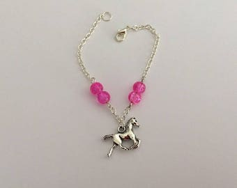 Silver bracelet with pink beads / / Silver bracelet with pink beads