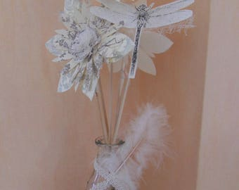 paper stem flowers wood in a vase of glass per 5 items