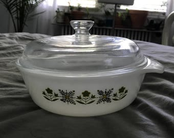 Vintage Fire King Green Meadow Casserole Dish Glass Lid