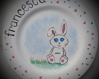 Personalised plate and egg cup. Glazrd and kiln fired