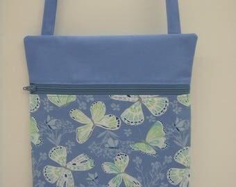 Cross Body Bag Chambray Blue Butterflies