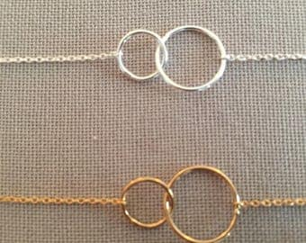 Thin adjustable silver bracelet sterling or gold plated