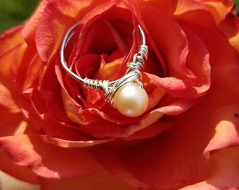 Freshwater Pearl Wire Wrap Ring