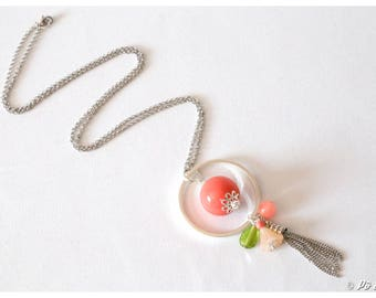 #0955 coral, lime green and silver pendant necklace