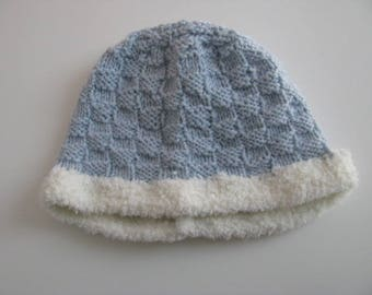 Blue and white wool hat size 3 months