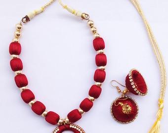 Gunu Handmade Silk Jewelry Necklace Earring set