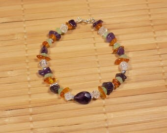 Amethyst and amber with green quartz and rock crystal and silver bracelet 925