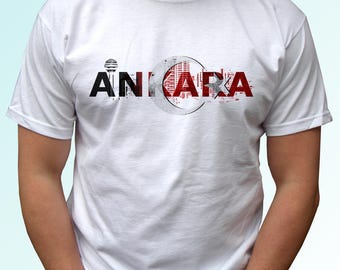 Ankara white t shirt top short sleeves Turkey flag - Mens, Womens, Kids, Baby - All Sizes!