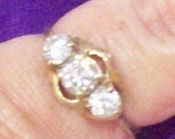 3 Stone Cubic Zirconia 14 K Gold Ring size 7.5