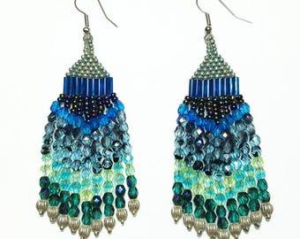 Blue Green Teal Beaded Dangle Earrings