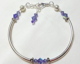 Tanzanite Blue Crystal Bangle Style Bracelet