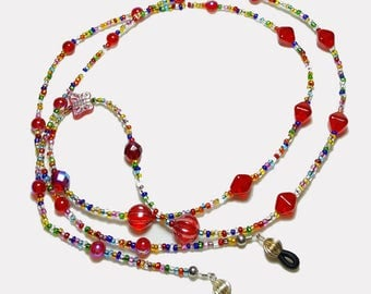 Ruby Red Multi Color Beaded Eyeglass Chain