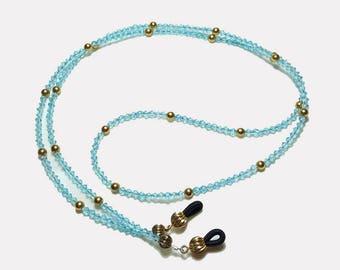 Sparkling Ocean Blue Crystal GF Beaded Eyeglass Chain