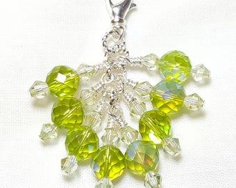 Olivine Peridot Green AB Crystal Zipper Pull Pendant