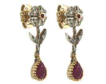 14 kt yellow gold earrings. Antique Style Pendants with rubies and diamonds, handmade, handmade Italian, Italian Floral Earrings