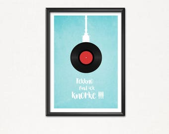 Techno I find Knorke-typical Berlin-poster image-Art print-techno music-party-scene-TV Tower