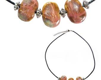 Women jacks porcelain Brown pink beige beads necklace silver adjustable black cord