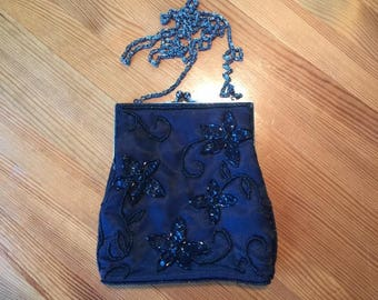 Beautiful Black Satin Beaded Evening Bag with Elegant Chain