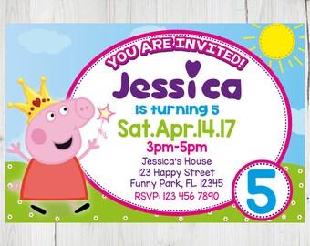 SUPER SALE -80%: Peppa Pig Instant Download Invitation, Peppa Pig Invitation, Peppa Pig Party, Peppa Pig Birthday Invitation, Peppa Pig Card