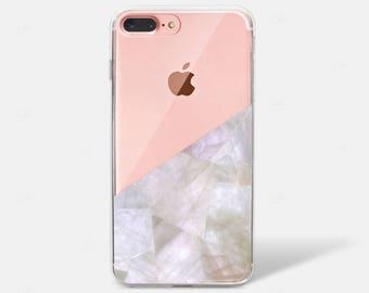 Creamy Rock Gemstone Crystal Marble Clear Silicone TPU iPhone Case iPhone 6 iPhone 7 iPhone 7 PLUS iPhone 6 PLUS