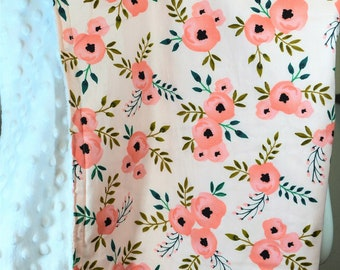 Modern Baby Girl Minky Blanket, Floral Pink Baby Girl Minky Blanket, Baby Girl Blanket, Baby Shower Gift