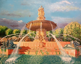 Paint fountain of the Rotunda of Aix-en-Provence painting oil on canvas on knives and brushes, beginning of course Mirabeau