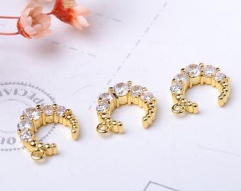 Moon Charms, Pave Moon Charms, Micro Pave Moon Pendant, Cubic Zirconia Moon,  Gold plated Moon Charms