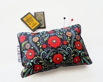 Sewing Gift, Canvas Pin cushion, Red Folky Floral, seamstress, tailor, crafter, desk tidy
