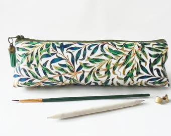 Art gifts, Green leafy print, pencil pouch, brush bag, cosmetic pouch.