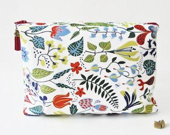 Gifts for her, Wash bag, swedish print, woodland, travel bag, cosmetic bag, zip bag.