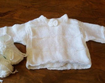 Baby set jacket and booties size newborn to 1 month