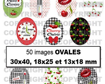 Digital images for cabochon 50 red cherries sexy make-up time kiss kiss Green Black - oval