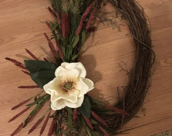 Oval Magnolia flower wreath
