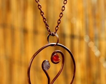 Heart of copper and gemstones