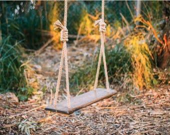 Rustic Swing, Adult Swing, Wood Tree Swing, Rustic Garden Decor, Childrenu0027s  Swing