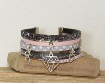 MULTISTRAND bracelet woman Cuff Bracelet, pastel pink, gray, engraved leather, suede, glitter, heart, origami diamond charms