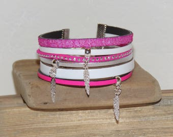 Cuff Bracelet, multi strand, white, pink neon, silver, leather, suede, glitter, feathers, women bracelet, Christmas gift idea