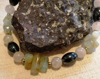 Slim designer bracelet with Opal, Rose Quartz and hematite-20 cm ~ Jauchzende Joy