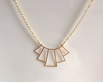 Gold chain, geometric pendant necklace