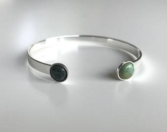 Silver Bangle, turquoise stone cabochons