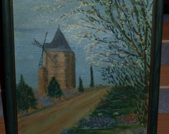OIL PAINTING: THE BLUE WINDMILL