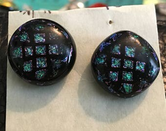 Unique checkered glass post earrings